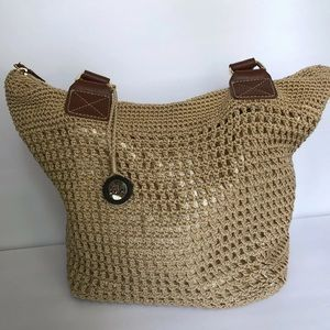 The Sak Crocheted Tote Handbag Beige Large Tan